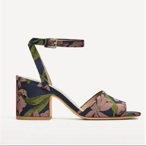 Zara Floral Block Heel Sandals